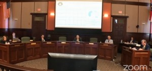 County commissioners and staffers kept six feet apart during their meeting on Wednesday.
