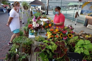 Abigail Steiner of Bee-utiful Farm and Garden assists a customer at the Hendersonville Farmers Market.