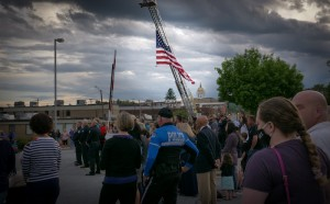 Police officers and supporters listen to a speaker on Police Memorial Day. [PARKER NEWMAN/Hendersonville Lightning]