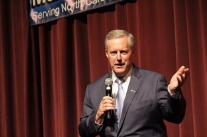 U.S. Rep. Mark Meadows makes a point during a town hall at BRCC.