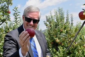 U.S. Rep. Mark Meadows shows a crimson crisp apple in Stepp's Hillcrest U-pick Orchard in Edneyville.