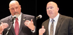 Sheriff Charlie McDonald and challenger Lowell Griffin met in a candidate forum last week.