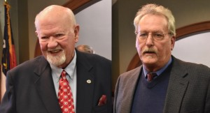 The Hendersonville City Council honored outgoing members Ron Stephens and Steve Caraker on Thursday.