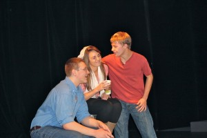 Erik Hinkle, Maddie Miller and Corey Boeh, in 'Miracle on Main Street'