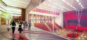 The gym complex would contain a game gym seating 900 and a practice gym.