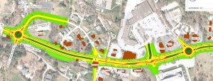NCDOT drawing shows U.S. 64 widening with a 17-foot median and roundabouts.